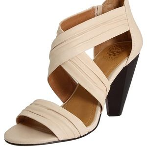 VInce Camuto Cream Ruched Leather High Heel Sandal